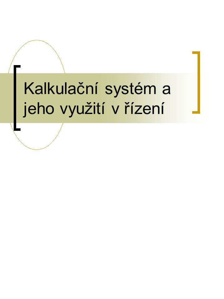 Kalkulační systém a jeho využití v řízení