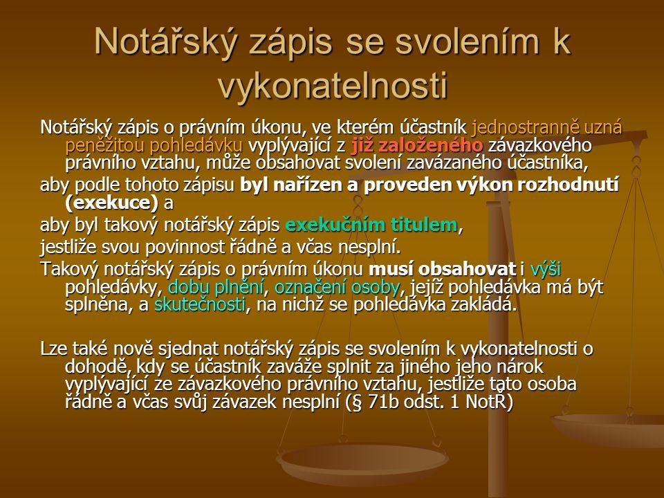 Notářský zápis se svolením k vykonatelnosti Notářský zápis o právním úkonu, ve kterém účastník jednostranně uzná peněžitou pohledávku vyplývající z ji