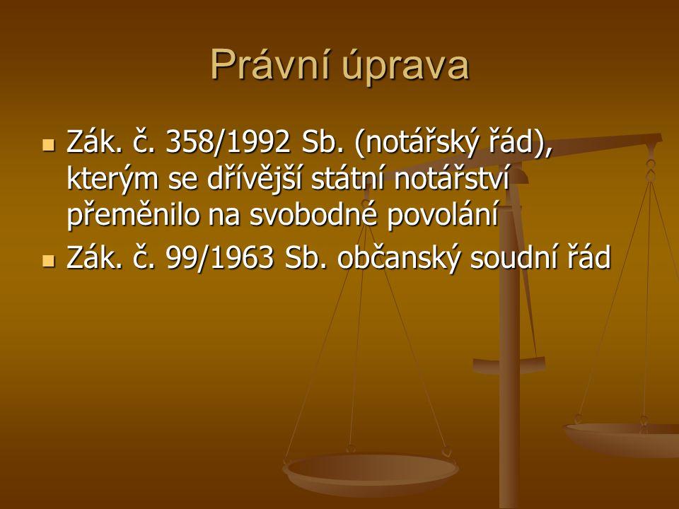 Právní úprava Zák. č. 358/1992 Sb. (notářský řád), kterým se dřívější státní notářství přeměnilo na svobodné povolání Zák. č. 358/1992 Sb. (notářský ř