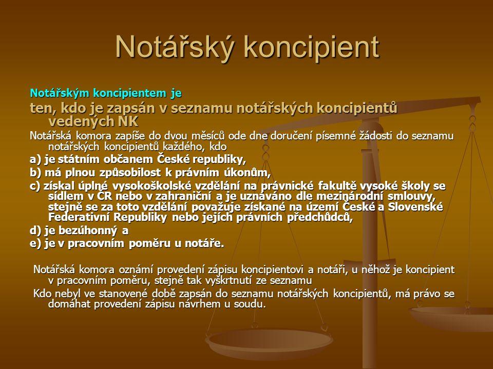 Notářský koncipient Notářským koncipientem je ten, kdo je zapsán v seznamu notářských koncipientů vedených NK Notářská komora zapíše do dvou měsíců od
