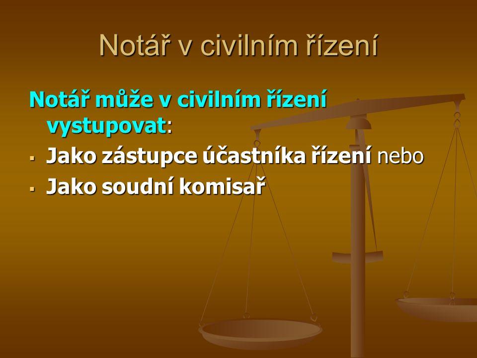 Notář může v civilním řízení vystupovat:  Jako zástupce účastníka řízení nebo  Jako soudní komisař