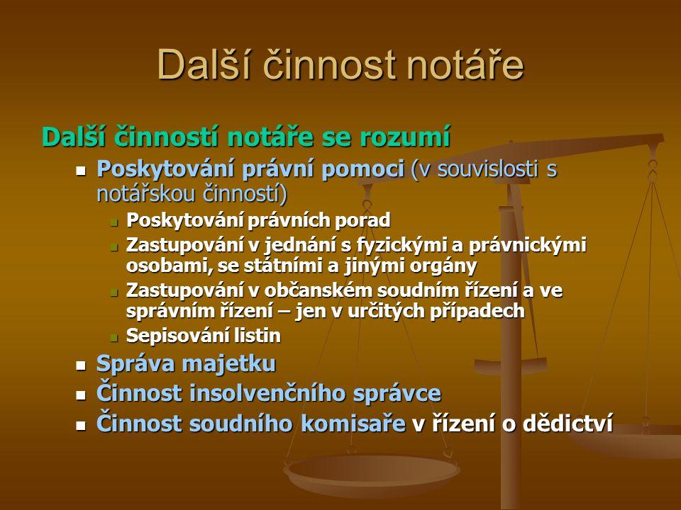 Notářský koncipient Notářským koncipientem je ten, kdo je zapsán v seznamu notářských koncipientů vedených NK Notářská komora zapíše do dvou měsíců ode dne doručení písemné žádosti do seznamu notářských koncipientů každého, kdo a) je státním občanem České republiky, b) má plnou způsobilost k právním úkonům, c) získal úplné vysokoškolské vzdělání na právnické fakultě vysoké školy se sídlem v ČR nebo v zahraniční a je uznáváno dle mezinárodní smlouvy, stejně se za toto vzdělání považuje získané na území České a Slovenské Federativní Republiky nebo jejích právních předchůdců, d) je bezúhonný a e) je v pracovním poměru u notáře.