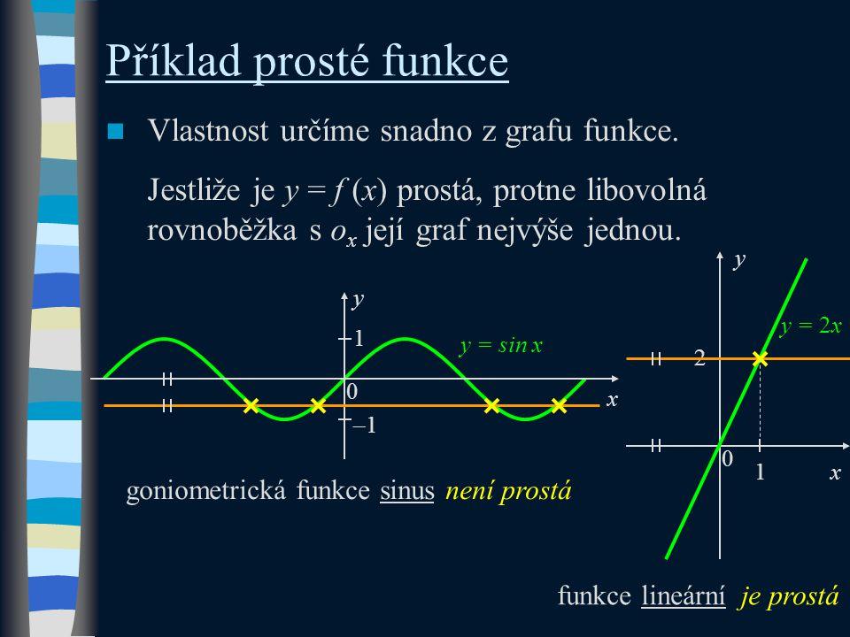Příklad prosté funkce Vlastnost určíme snadno z grafu funkce. Jestliže je y = f (x) prostá, protne libovolná rovnoběžka s o x její graf nejvýše jednou