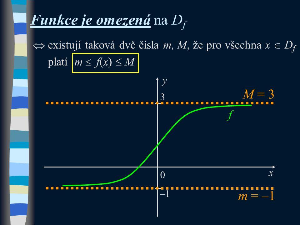 y 0 x f 3 –1  existují taková dvě čísla m, M, že pro všechna x  D f platí m  f(x)  M M = 3 Funkce je omezená na D f m = –1