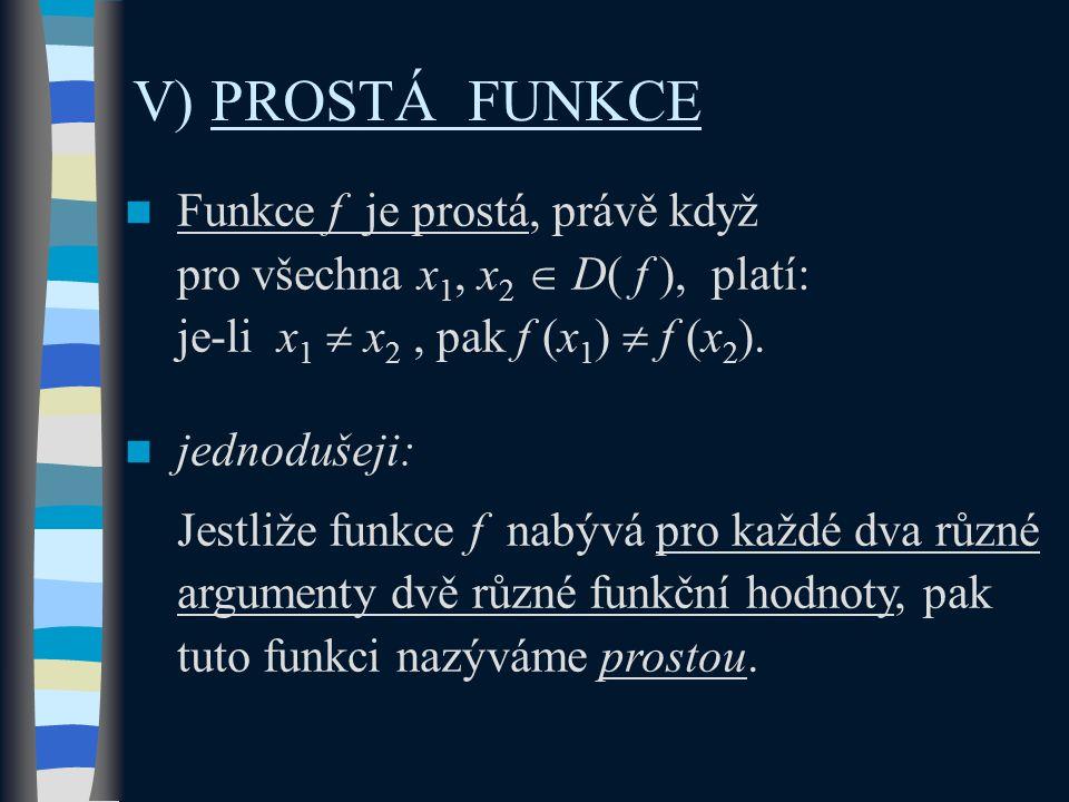Funkce f je prostá, právě když pro všechna x 1, x 2  D( f ), platí: je-li x 1  x 2, pak f (x 1 )  f (x 2 ). jednodušeji: Jestliže funkce f nabývá p