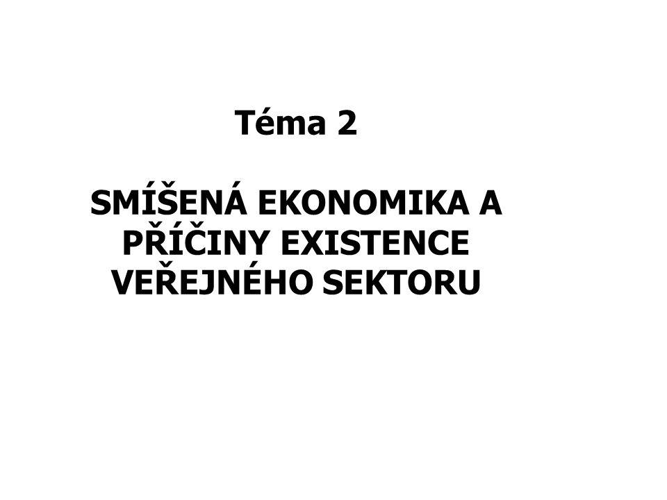 2 tržní –regulováno cenami, cenovými signály SMÍŠENÁ EKONOMIKA (mixed economy): koexistence soukromého a veřejného sektoru pluralita vlastnictví –soukromé –veřejné - státní, municipální, komunální apod.
