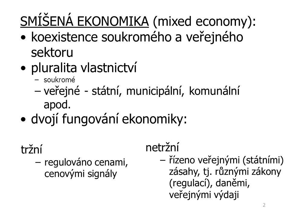 2 tržní –regulováno cenami, cenovými signály SMÍŠENÁ EKONOMIKA (mixed economy): koexistence soukromého a veřejného sektoru pluralita vlastnictví –souk