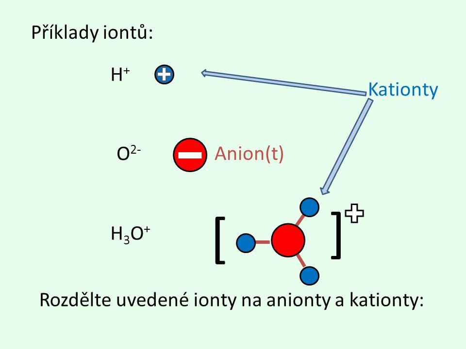 [ ] H+H+ O 2- H3O+H3O+ Rozdělte uvedené ionty na anionty a kationty: Kationty Příklady iontů: Anion(t)