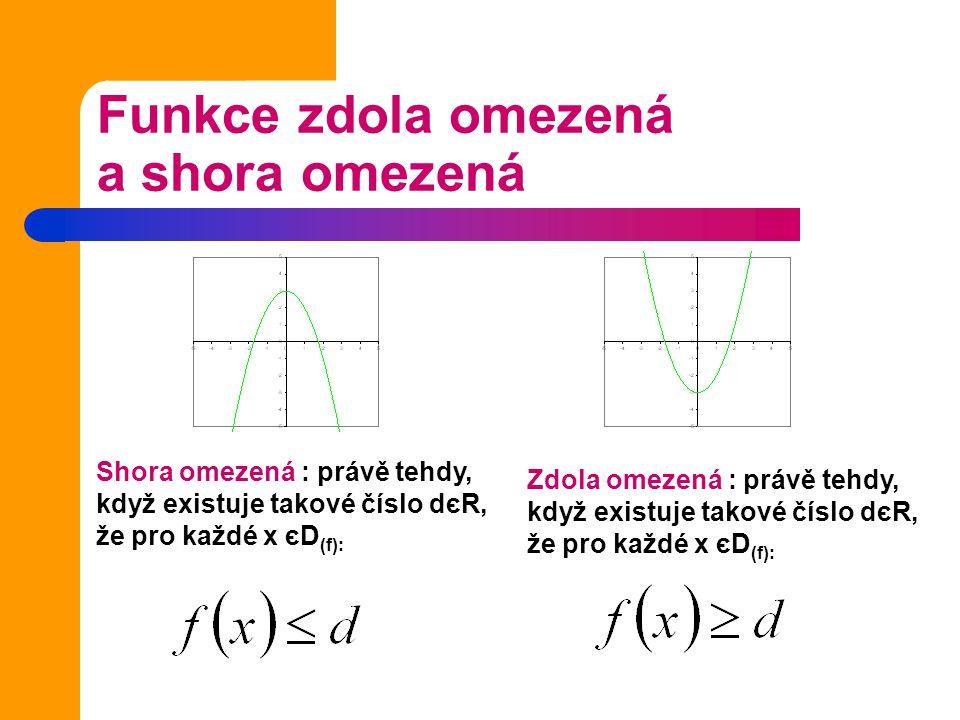 Funkce zdola omezená a shora omezená Shora omezená : právě tehdy, když existuje takové číslo dєR, že pro každé x єD (f): Zdola omezená : právě tehdy,
