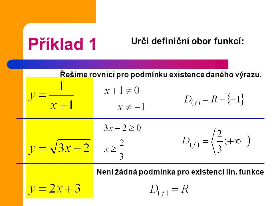 Příklad 1 Urči definiční obor funkcí: Řešíme rovnici pro podmínku existence daného výrazu. Není žádná podmínka pro existenci lin. funkce