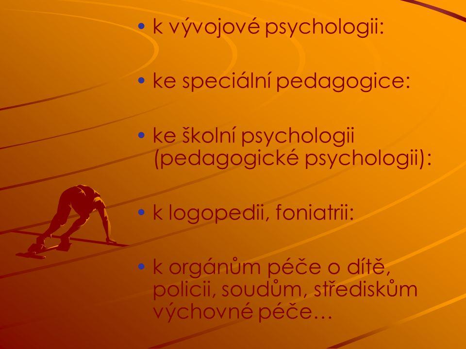k vývojové psychologii: ke speciální pedagogice: ke školní psychologii (pedagogické psychologii): k logopedii, foniatrii: k orgánům péče o dítě, policii, soudům, střediskům výchovné péče…