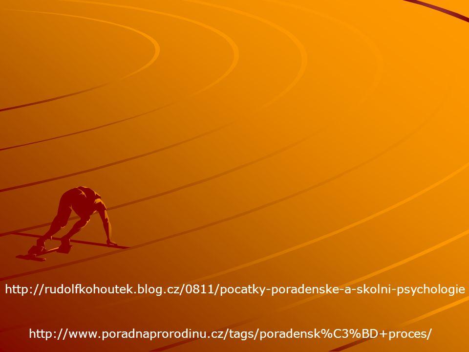 http://rudolfkohoutek.blog.cz/0811/pocatky-poradenske-a-skolni-psychologie http://www.poradnaprorodinu.cz/tags/poradensk%C3%BD+proces/