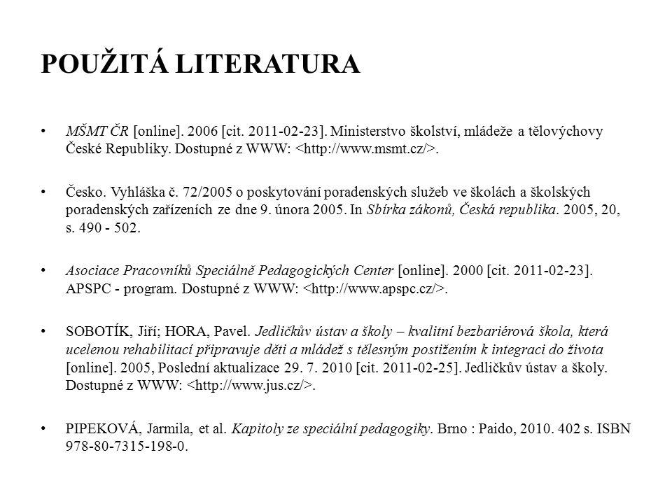 POUŽITÁ LITERATURA MŠMT ČR [online]. 2006 [cit. 2011-02-23].