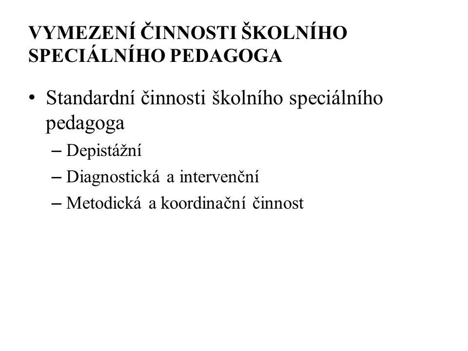 VYMEZENÍ ČINNOSTI ŠKOLNÍHO SPECIÁLNÍHO PEDAGOGA Standardní činnosti školního speciálního pedagoga – Depistážní – Diagnostická a intervenční – Metodická a koordinační činnost