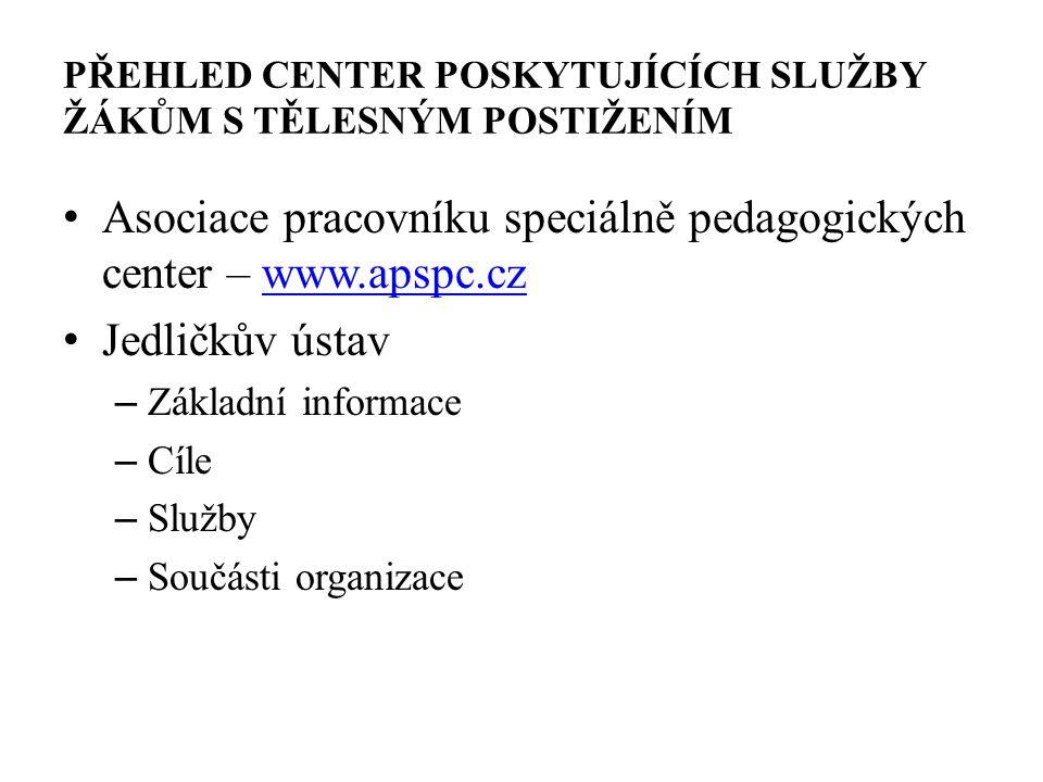 PŘEHLED CENTER POSKYTUJÍCÍCH SLUŽBY ŽÁKŮM S TĚLESNÝM POSTIŽENÍM Asociace pracovníku speciálně pedagogických center – www.apspc.czwww.apspc.cz Jedličků