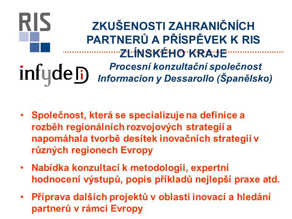 ZKUŠENOSTI ZAHRANIČNÍCH PARTNERŮ A PŘÍSPĚVEK K RIS ZLÍNSKÉHO KRAJE Společnost, která se specializuje na definice a rozběh regionálních rozvojových strategií a napomáhala tvorbě desítek inovačních strategií v různých regionech Evropy Nabídka konzultací k metodologii, expertní hodnocení výstupů, popis příkladů nejlepší praxe atd.