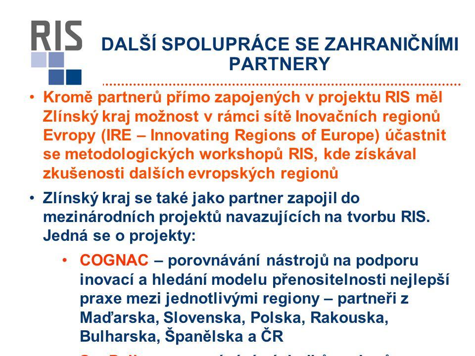 DALŠÍ SPOLUPRÁCE SE ZAHRANIČNÍMI PARTNERY Kromě partnerů přímo zapojených v projektu RIS měl Zlínský kraj možnost v rámci sítě Inovačních regionů Evropy (IRE – Innovating Regions of Europe) účastnit se metodologických workshopů RIS, kde získával zkušenosti dalších evropských regionů Zlínský kraj se také jako partner zapojil do mezinárodních projektů navazujících na tvorbu RIS.