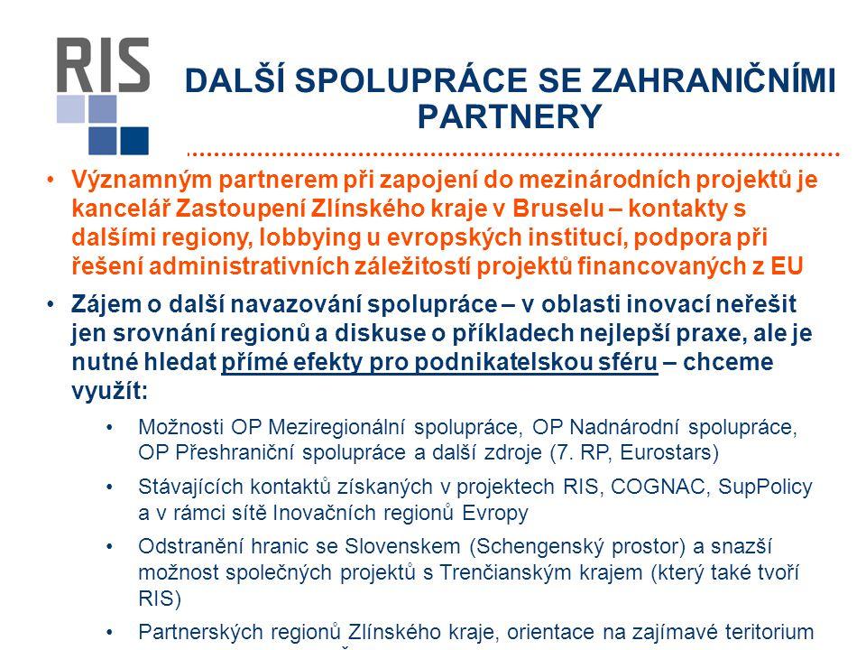 DALŠÍ SPOLUPRÁCE SE ZAHRANIČNÍMI PARTNERY Významným partnerem při zapojení do mezinárodních projektů je kancelář Zastoupení Zlínského kraje v Bruselu – kontakty s dalšími regiony, lobbying u evropských institucí, podpora při řešení administrativních záležitostí projektů financovaných z EU Zájem o další navazování spolupráce – v oblasti inovací neřešit jen srovnání regionů a diskuse o příkladech nejlepší praxe, ale je nutné hledat přímé efekty pro podnikatelskou sféru – chceme využít: Možnosti OP Meziregionální spolupráce, OP Nadnárodní spolupráce, OP Přeshraniční spolupráce a další zdroje (7.