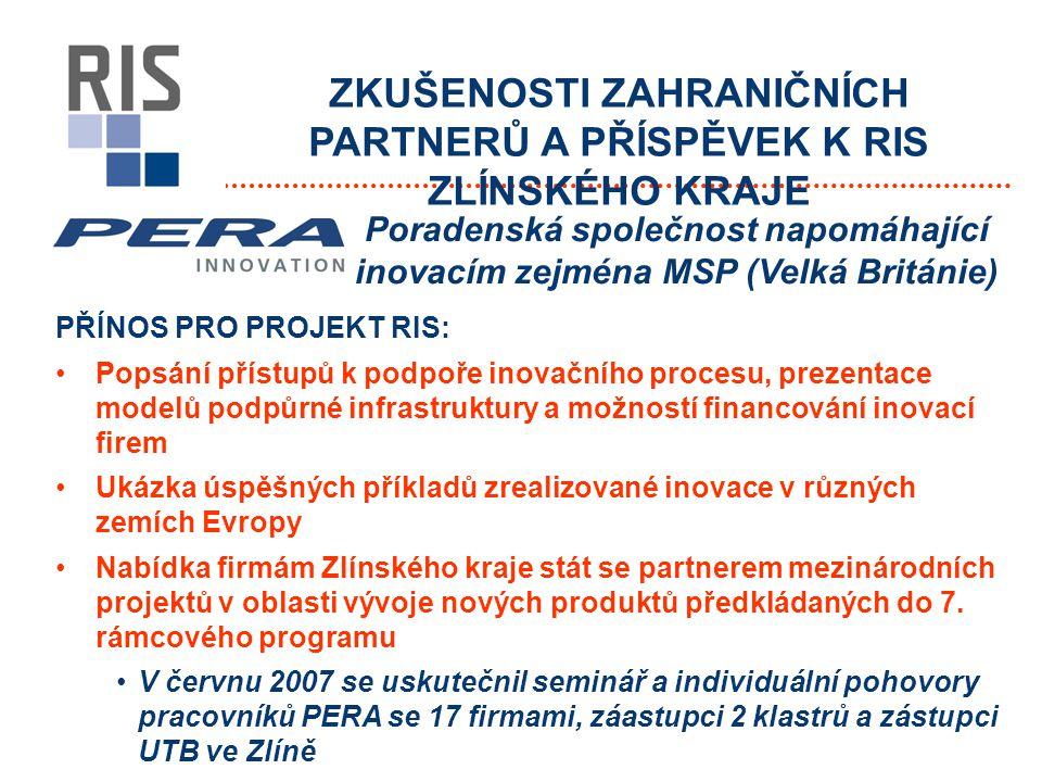 ZKUŠENOSTI ZAHRANIČNÍCH PARTNERŮ A PŘÍSPĚVEK K RIS ZLÍNSKÉHO KRAJE PŘÍNOS PRO PROJEKT RIS: Popsání přístupů k podpoře inovačního procesu, prezentace modelů podpůrné infrastruktury a možností financování inovací firem Ukázka úspěšných příkladů zrealizované inovace v různých zemích Evropy Nabídka firmám Zlínského kraje stát se partnerem mezinárodních projektů v oblasti vývoje nových produktů předkládaných do 7.