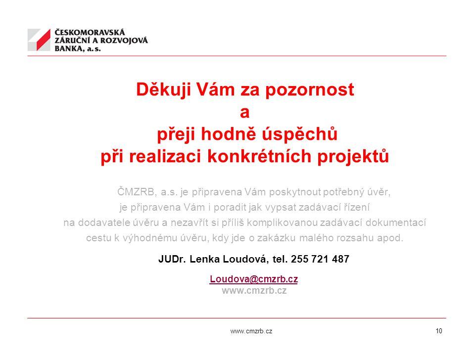 www.cmzrb.cz10 Děkuji Vám za pozornost a přeji hodně úspěchů při realizaci konkrétních projektů ČMZRB, a.s. je připravena Vám poskytnout potřebný úvěr
