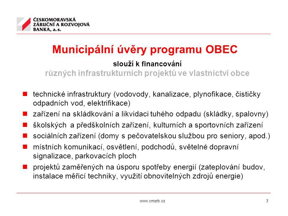 www.cmzrb.cz3 Municipální úvěry programu OBEC slouží k financování různých infrastrukturních projektů ve vlastnictví obce technické infrastruktury (vo