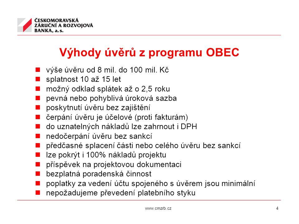 www.cmzrb.cz4 Výhody úvěrů z programu OBEC výše úvěru od 8 mil. do 100 mil. Kč splatnost 10 až 15 let možný odklad splátek až o 2,5 roku pevná nebo po