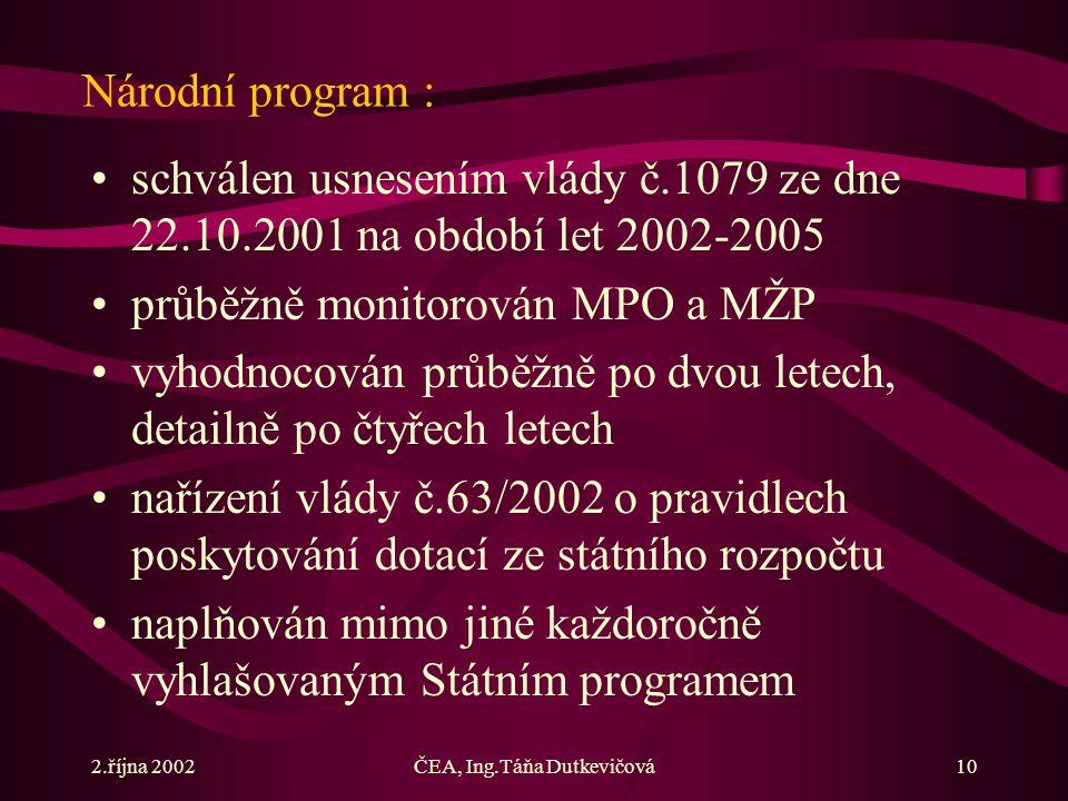 2.října 2002ČEA, Ing.Táňa Dutkevičová10 Národní program : schválen usnesením vlády č.1079 ze dne 22.10.2001 na období let 2002-2005 průběžně monitorován MPO a MŽP vyhodnocován průběžně po dvou letech, detailně po čtyřech letech nařízení vlády č.63/2002 o pravidlech poskytování dotací ze státního rozpočtu naplňován mimo jiné každoročně vyhlašovaným Státním programem