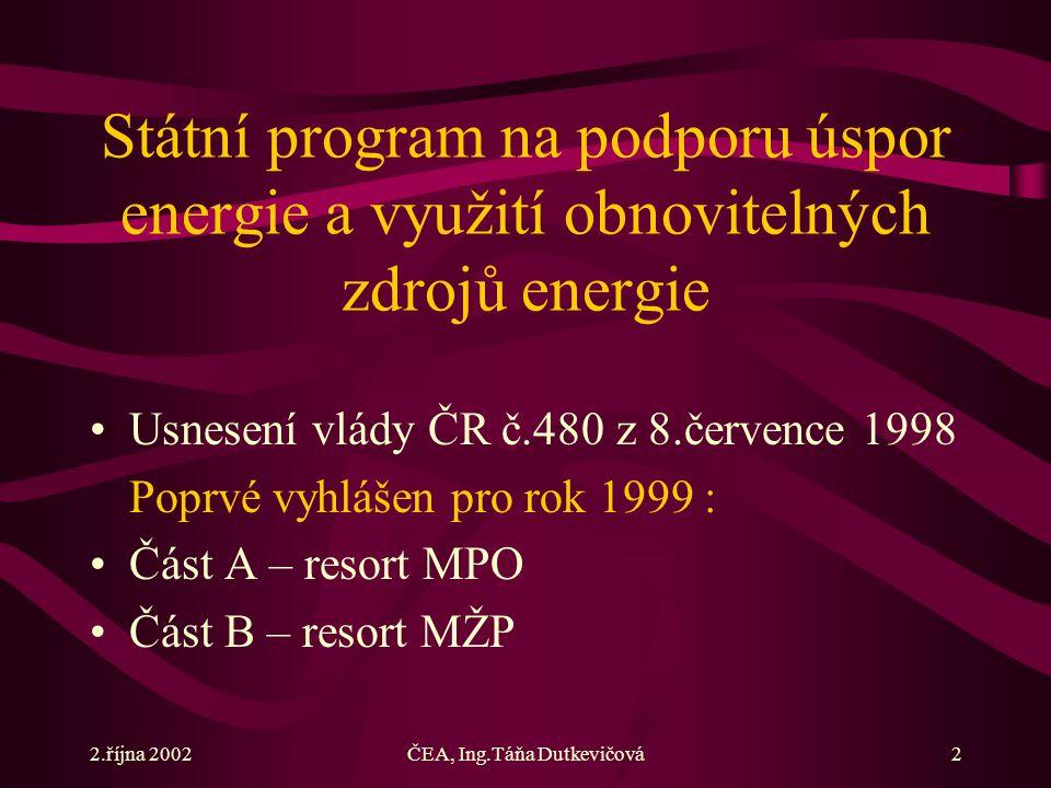 2.října 2002ČEA, Ing.Táňa Dutkevičová2 Státní program na podporu úspor energie a využití obnovitelných zdrojů energie Usnesení vlády ČR č.480 z 8.července 1998 Poprvé vyhlášen pro rok 1999 : Část A – resort MPO Část B – resort MŽP
