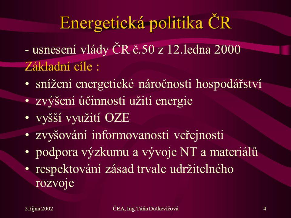 2.října 2002ČEA, Ing.Táňa Dutkevičová4 Energetická politika ČR - usnesení vlády ČR č.50 z 12.ledna 2000 Základní cíle : snížení energetické náročnosti