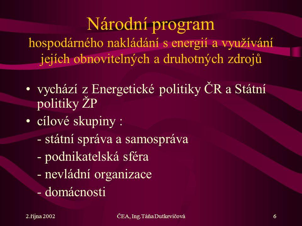 2.října 2002ČEA, Ing.Táňa Dutkevičová6 Národní program hospodárného nakládání s energií a využívání jejích obnovitelných a druhotných zdrojů vychází z