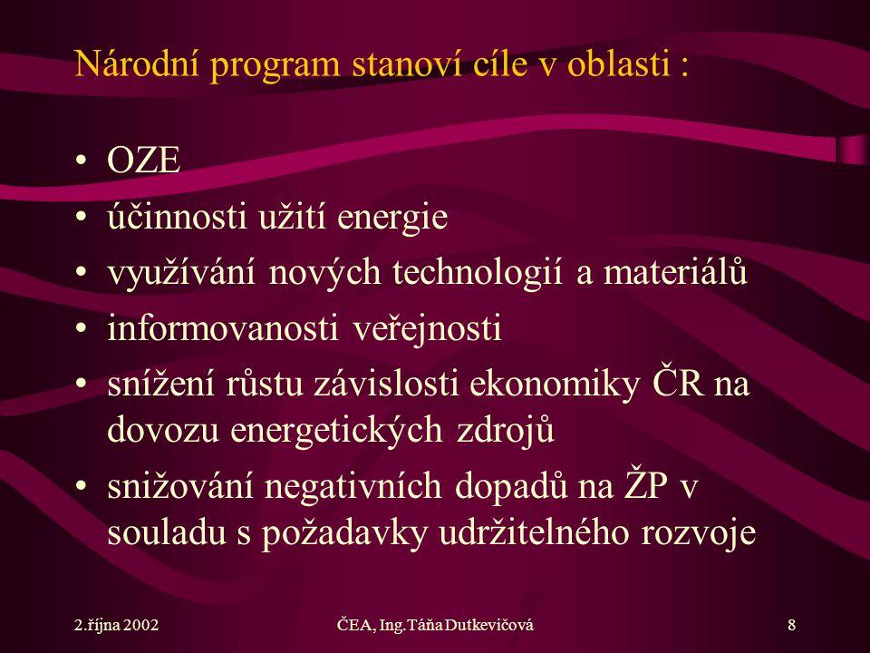 2.října 2002ČEA, Ing.Táňa Dutkevičová8 Národní program stanoví cíle v oblasti : OZE účinnosti užití energie využívání nových technologií a materiálů informovanosti veřejnosti snížení růstu závislosti ekonomiky ČR na dovozu energetických zdrojů snižování negativních dopadů na ŽP v souladu s požadavky udržitelného rozvoje