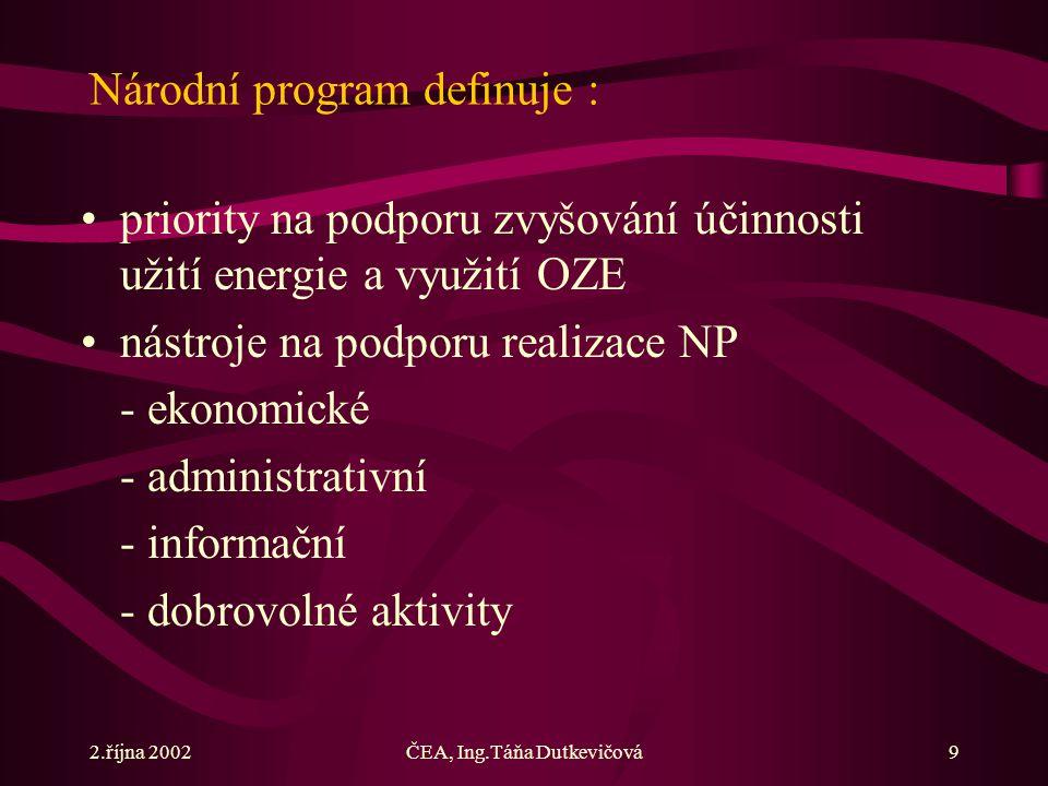 2.října 2002ČEA, Ing.Táňa Dutkevičová9 Národní program definuje : priority na podporu zvyšování účinnosti užití energie a využití OZE nástroje na podporu realizace NP - ekonomické - administrativní - informační - dobrovolné aktivity