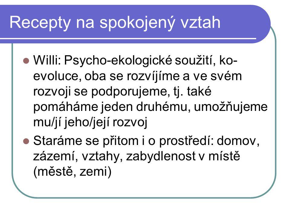 Recepty na spokojený vztah Willi: Psycho-ekologické soužití, ko- evoluce, oba se rozvíjíme a ve svém rozvoji se podporujeme, tj. také pomáháme jeden d