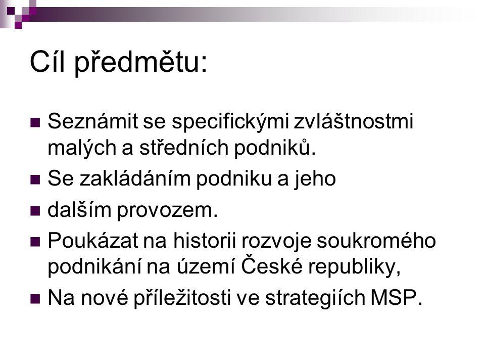 1.Úvodní přednáška, charakteristika a definice MSP 2.Ochrana duševního vlastnictví v MSP na seminářích podnikatelský plán 3.Založení podniku - právní formy podnikání, … 4.Strategie MSP (strategické aliance atd.) 5.Výrobní činitele, outsourcing 6.Inovace v MSP 7.9.