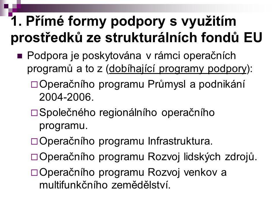 1. Přímé formy podpory s využitím prostředků ze strukturálních fondů EU Podpora je poskytována v rámci operačních programů a to z (dobíhající programy