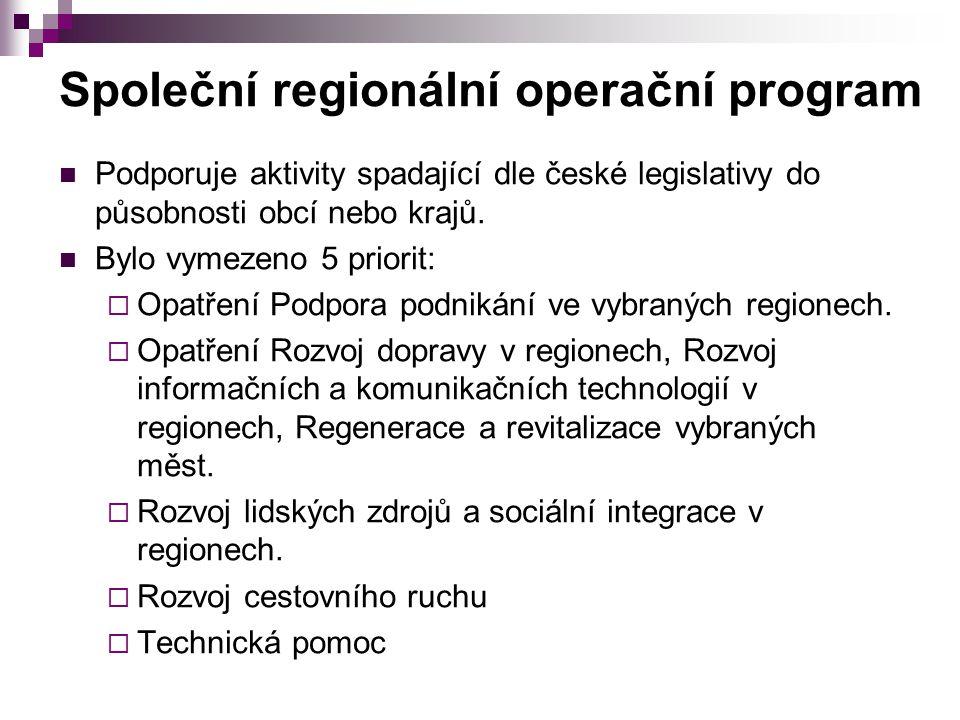 Společní regionální operační program Podporuje aktivity spadající dle české legislativy do působnosti obcí nebo krajů. Bylo vymezeno 5 priorit:  Opat