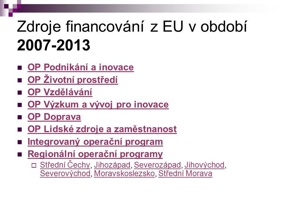 Zdroje financování z EU v období 2007-2013 OP Podnikání a inovace OP Životní prostředí OP Vzdělávání OP Výzkum a vývoj pro inovace OP Doprava OP Lidsk
