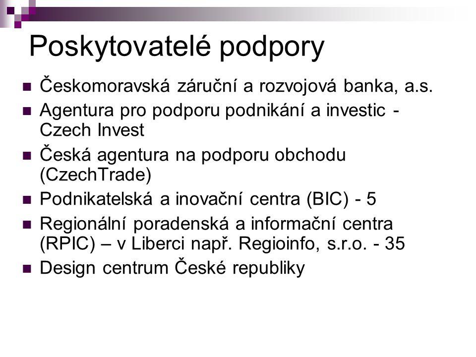Poskytovatelé podpory Českomoravská záruční a rozvojová banka, a.s. Agentura pro podporu podnikání a investic - Czech Invest Česká agentura na podporu
