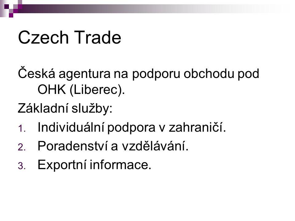 Czech Trade Česká agentura na podporu obchodu pod OHK (Liberec). Základní služby: 1. Individuální podpora v zahraničí. 2. Poradenství a vzdělávání. 3.