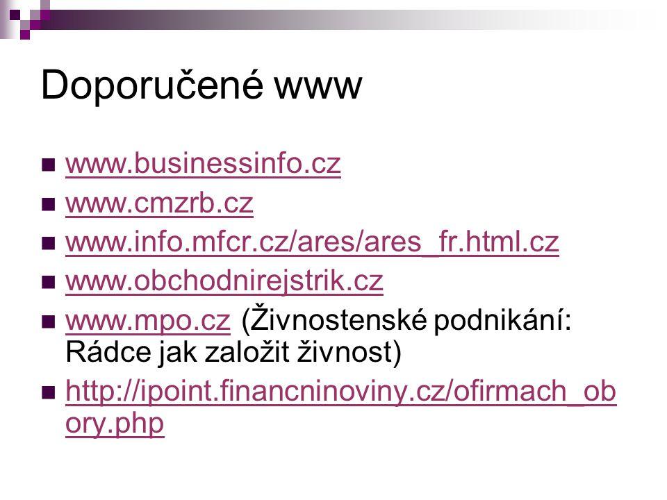 Doporučené www www.businessinfo.cz www.cmzrb.cz www.info.mfcr.cz/ares/ares_fr.html.cz www.obchodnirejstrik.cz www.mpo.cz (Živnostenské podnikání: Rádc