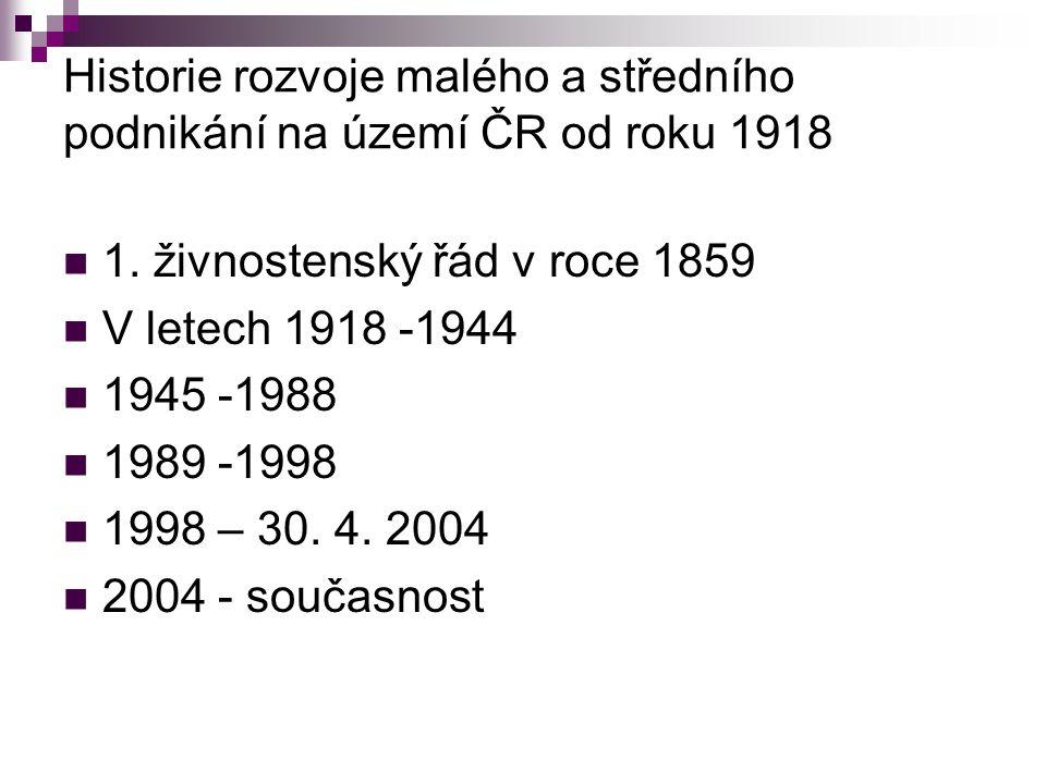 Historie rozvoje malého a středního podnikání na území ČR od roku 1918 1. živnostenský řád v roce 1859 V letech 1918 -1944 1945 -1988 1989 -1998 1998