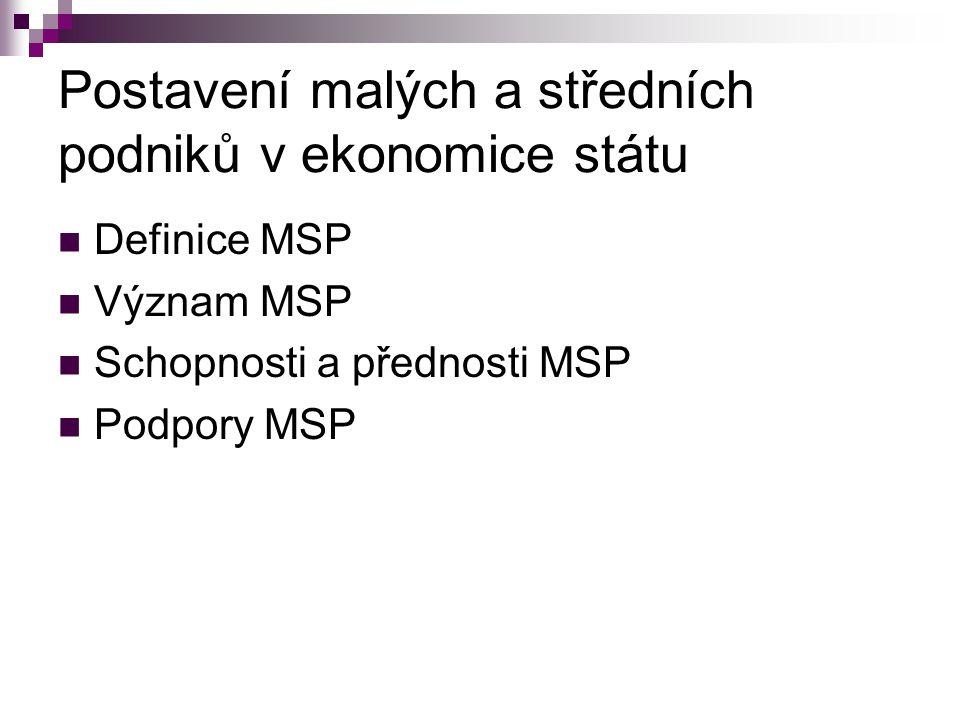 Definice malého a středního podnikání Malý a střední podnik (ve smyslu Obchodního zákoníku) v ČR (EU) pro účely podpory podnikání je definován pomocí následujících kritérií: počtu zaměstnanců, ekonomických kritérií (aktiva, nebo čistý obrat podniku za poslední uzavřené období) a nezávislosti.