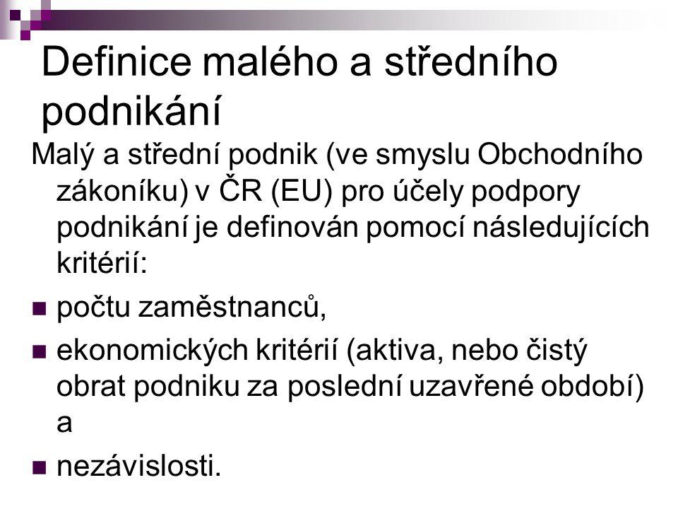 Definice malého a středního podnikání Malý a střední podnik (ve smyslu Obchodního zákoníku) v ČR (EU) pro účely podpory podnikání je definován pomocí