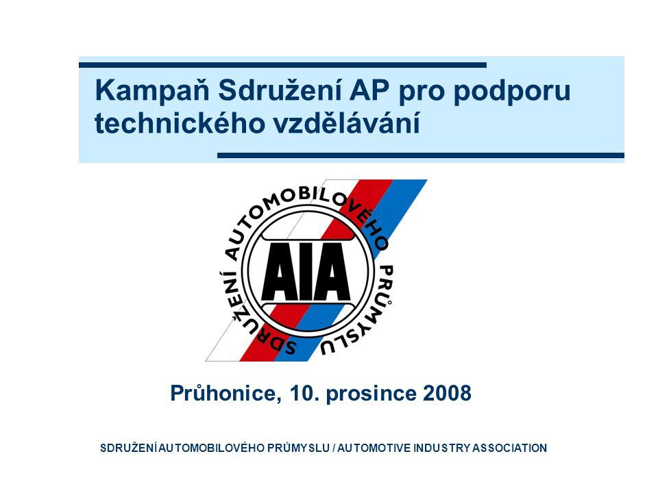 Kampaň Sdružení AP pro podporu technického vzdělávání Průhonice, 10. prosince 2008 SDRUŽENÍ AUTOMOBILOVÉHO PRŮMYSLU / AUTOMOTIVE INDUSTRY ASSOCIATION
