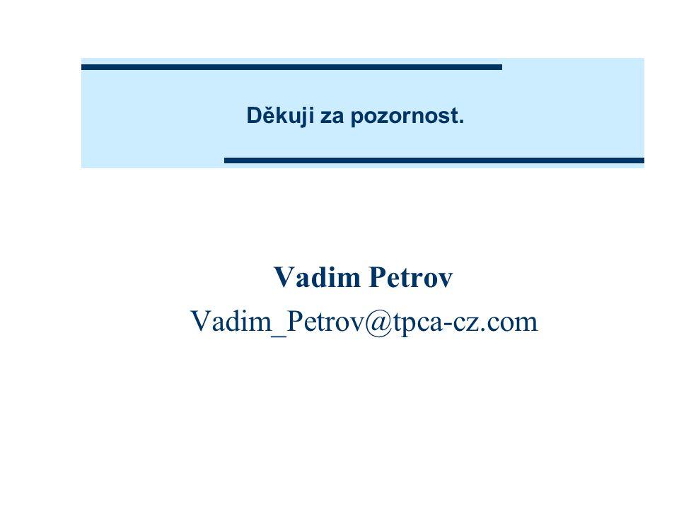 Děkuji za pozornost. Vadim Petrov Vadim_Petrov@tpca-cz.com