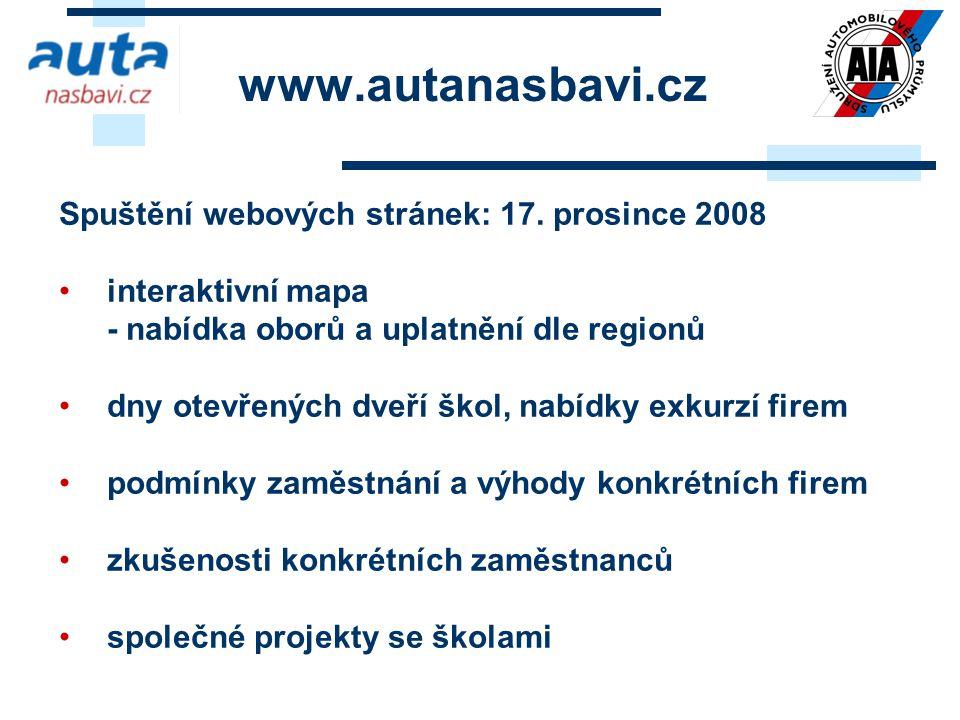 Spuštění webových stránek: 17. prosince 2008 interaktivní mapa - nabídka oborů a uplatnění dle regionů dny otevřených dveří škol, nabídky exkurzí fire