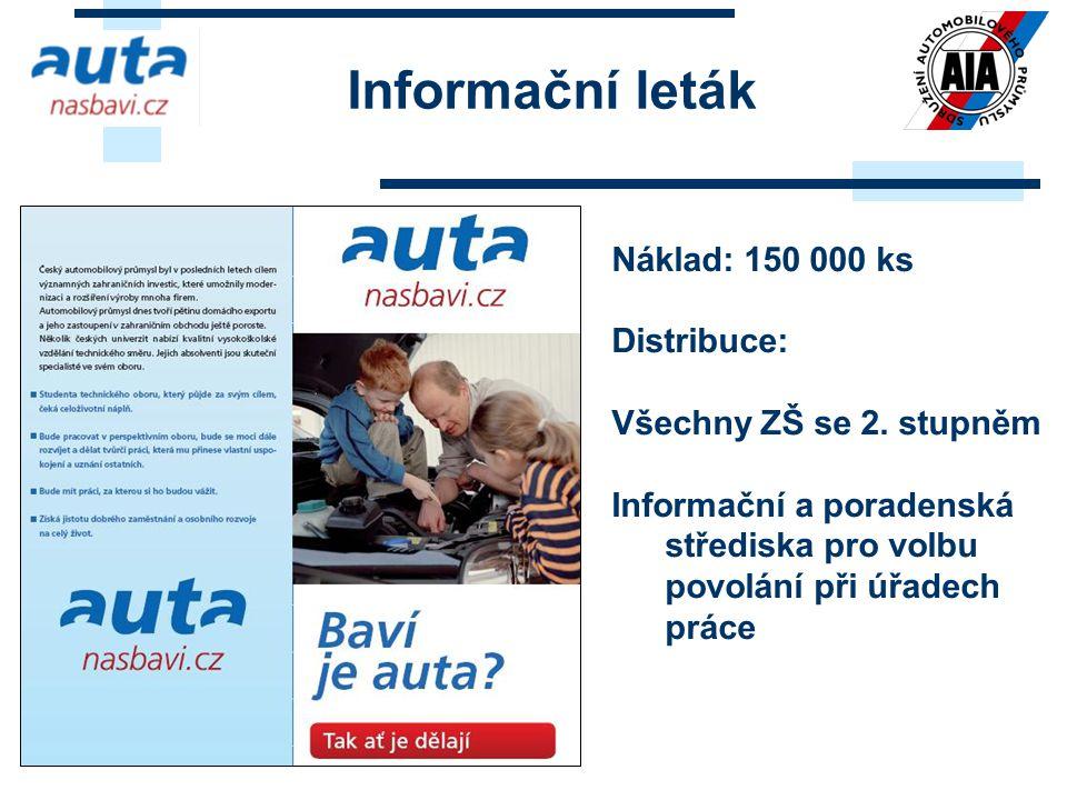 Informační leták Náklad: 150 000 ks Distribuce: Všechny ZŠ se 2. stupněm Informační a poradenská střediska pro volbu povolání při úřadech práce