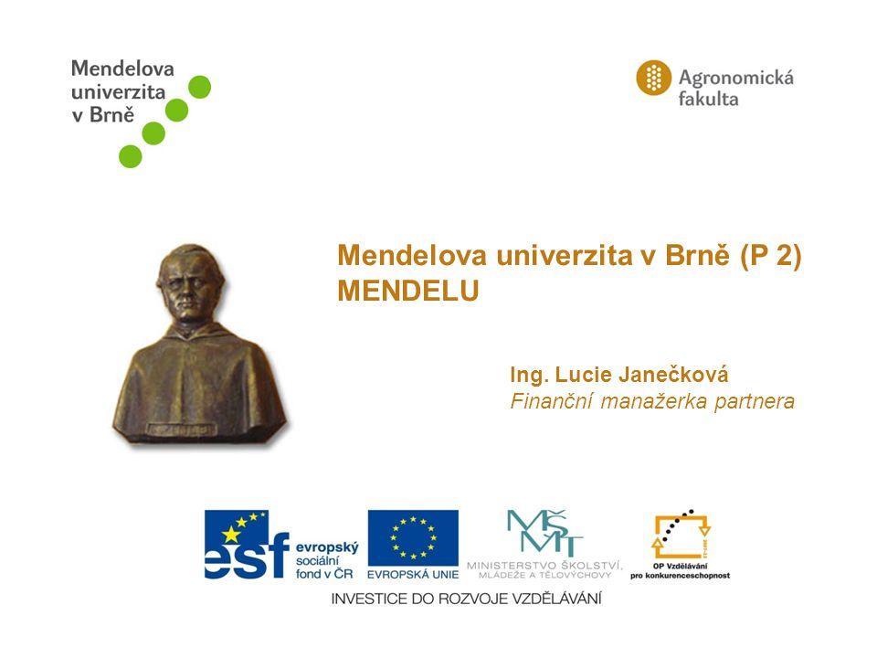 Ing. Lucie Janečková Finanční manažerka partnera Mendelova univerzita v Brně (P 2) MENDELU