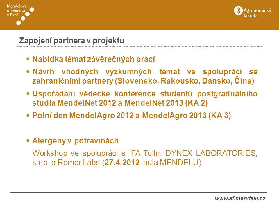 www.af.mendelu.cz Zapojení partnera v projektu ● Nabídka témat závěrečných prací ● Návrh vhodných výzkumných témat ve spolupráci se zahraničními partn