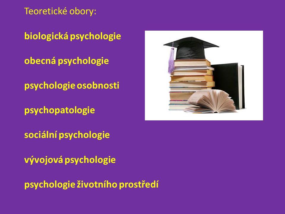Teoretické obory: biologická psychologie obecná psychologie psychologie osobnosti psychopatologie sociální psychologie vývojová psychologie psychologie životního prostředí